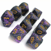 Purple & Black 'Hurricane' Speckled D10 Ten Sided Dice Set